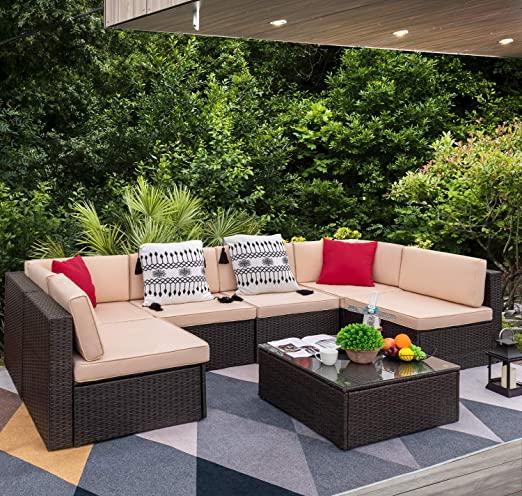 Amazon.com : Devoko 7 Pieces Outdoor Sectional Sofa All-Weather .