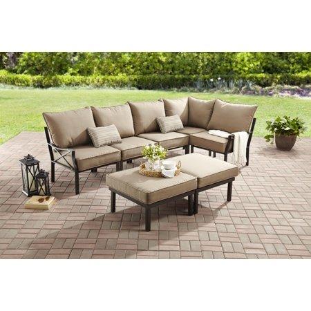 Mainstays Sandhill 7-Piece Outdoor Patio Sofa Sectional Set, Beige .