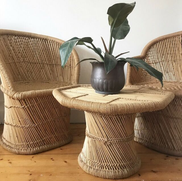 VINTAGE WOVEN RATTAN CHAIRS TABLE SET JUTE CANE OUTDOOR SETTING .