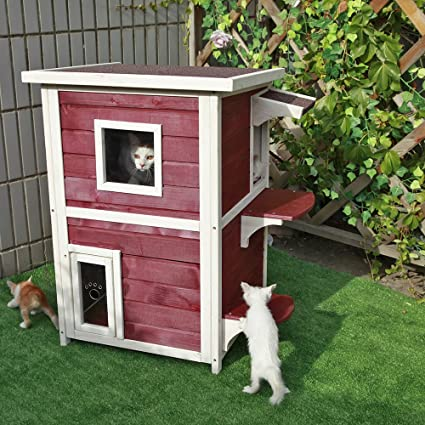 Amazon.com : Petsfit 2-Story Weatherproof Outdoor Kitty Cat House .