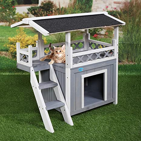 Amazon.com : Tobbi Dog House Outdoor Shelter Roof Cat Condo Wood .