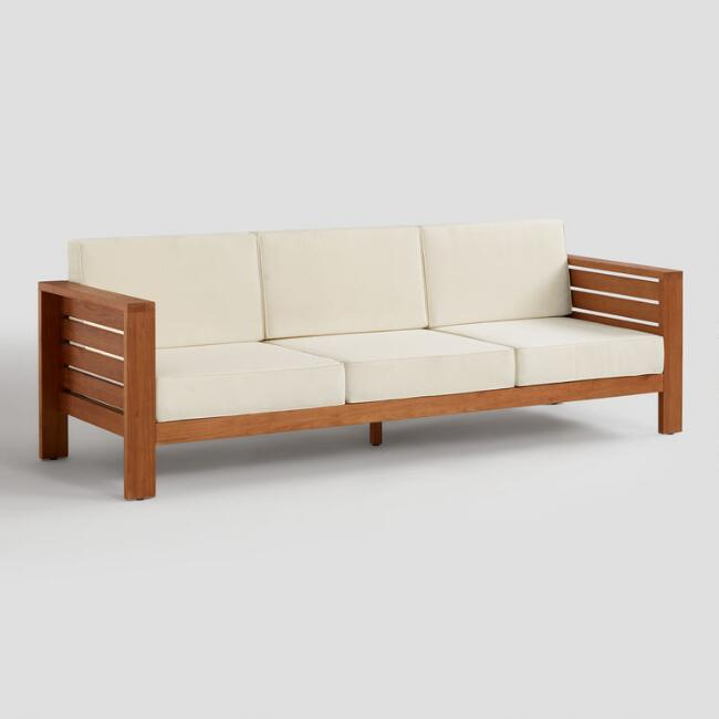 Wood Formentera 3 Seater Outdoor Occasional Sofa | World Mark