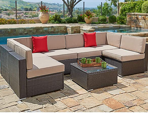 Amazon.com : SUNCROWN Outdoor Patio Furniture 7-Piece Wicker Sofa .