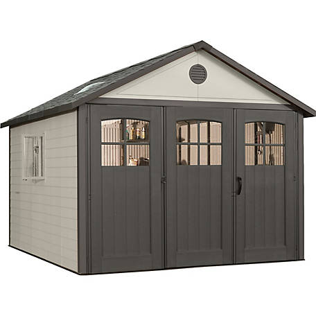 Lifetime 11 ft. x 11 ft. Outdoor Storage Shed with Tri-Fold Doors at .