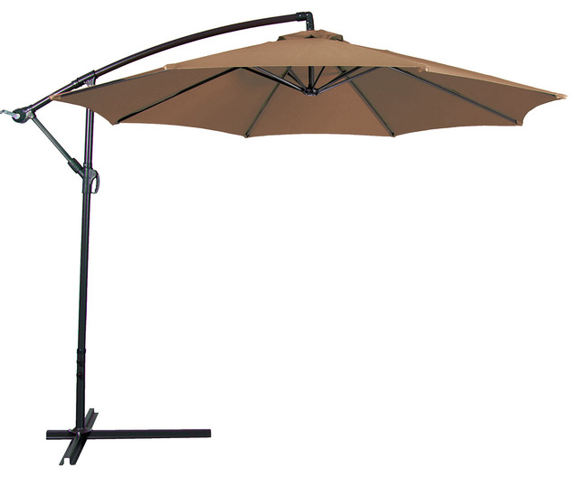 Outdoor Patio Umbrella 10' Aluminum Cantilever, Crank and Base .
