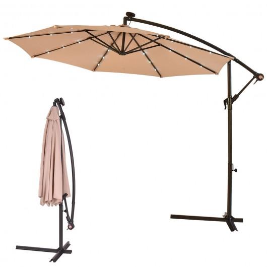 10' Patio Hanging Umbrella Sun Shade with Solar LED Lights .
