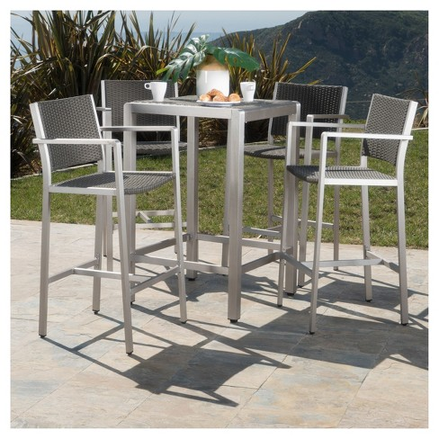 Cape Coral 5pc All-Weather Wicker/Metal Patio Bar Set - Gray .