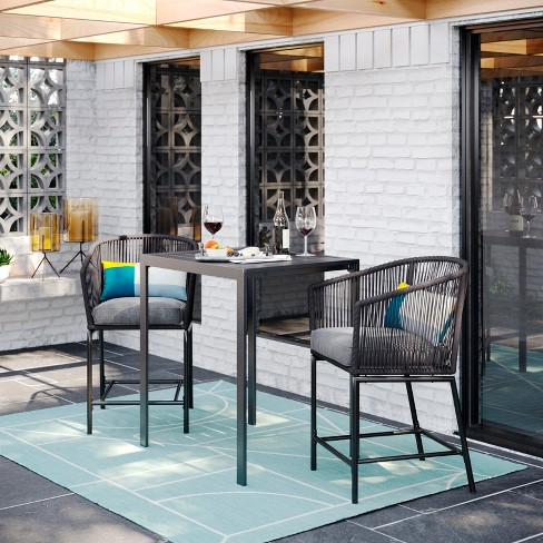 Standish 3pc Patio Bar Height Dining Set - Charcoal - Project 62 .