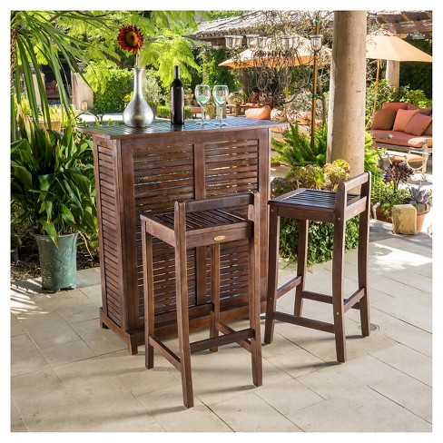 Riviera 3pc Wood Patio Bar Set - Brown - Christopher Knight Home .