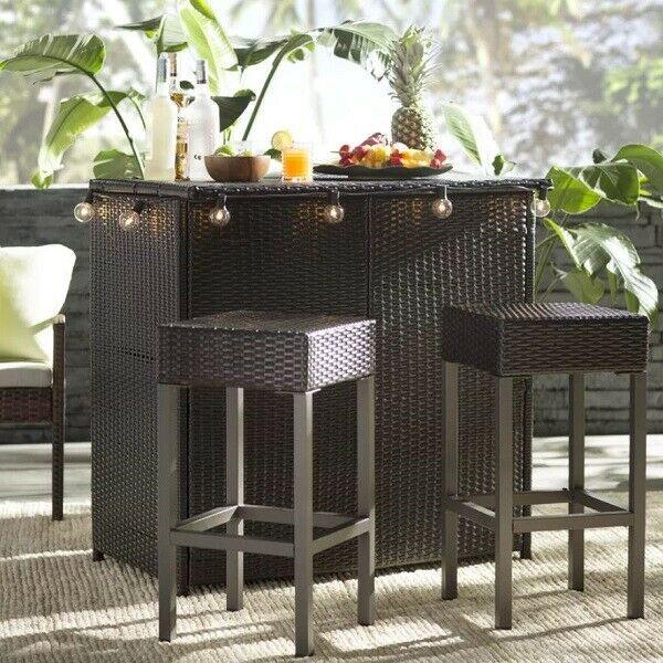 Outdoor Patio Bar Set 3 Piece Stools Table Seating Garden Deck .