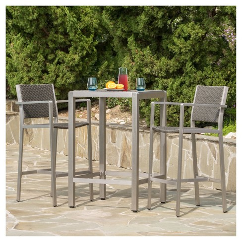 Cape Coral 3pc All-Weather Wicker/Metal Patio Bar Set - Gray .