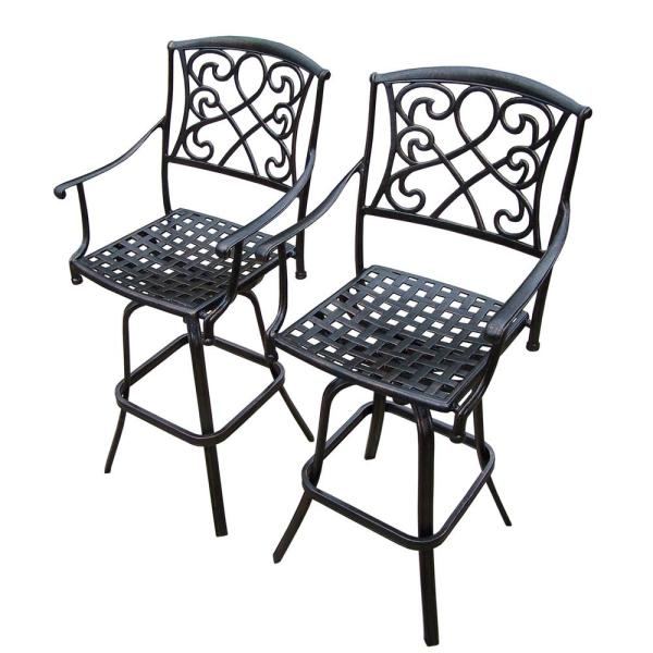 2-Piece Grace Cast Aluminum Swivel Patio Bar Stools HD3024-BS2-AB .