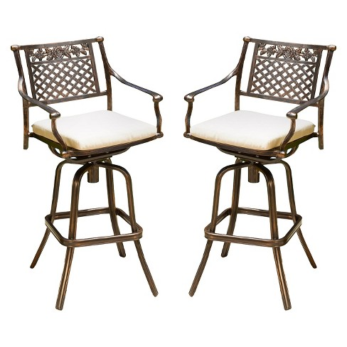 Sebastian Set Of 2 Cast Aluminum Patio Barstool With Cushion .