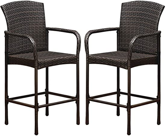 Amazon.com: Tangkula Set of 2 Patio Bar Stools, Indoor Outdoor Use .