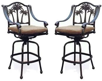 Amazon.com: Patio Bar Stools Set of 2 Swivel Palm Tree Cast .