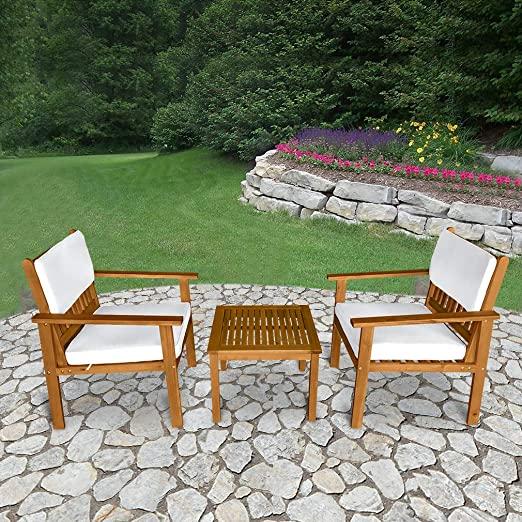 Amazon.com: 3-Piece Acacia Wood Patio Bistro Set Outdoor Chat .