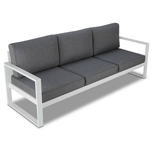 Baltic 1pc Metal Patio Sofa - White - Real Flame : Targ