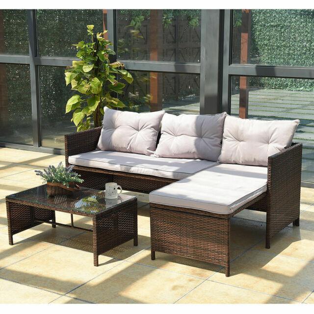 3PC Outdoor Patio Sofa Set Rattan Wicker Deck Couch Garden .