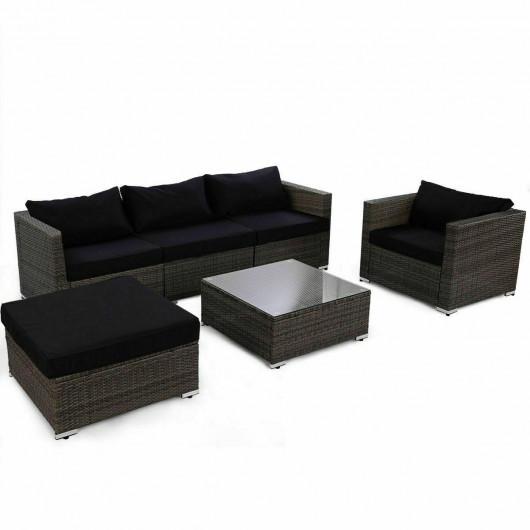 Rattan Wicker Patio Sofa Set with Black Cushion - Outdoor .