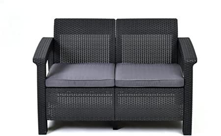 Amazon.com : Keter Corfu Resin Wicker Outdoor Loveseat Patio Couch .