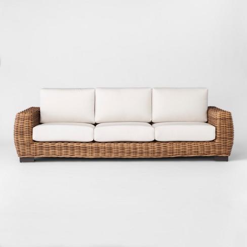 Eldridge Wicker Patio Sofa With Sunbrella Cushions - Brown/White .