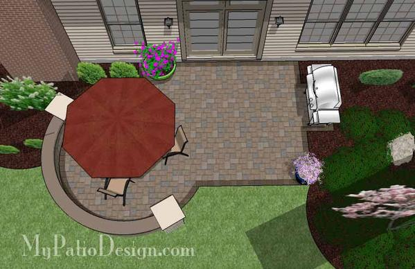 290 sq. ft. - Small Patio Design on a Budget with Seat Wall .