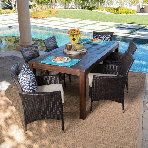 Lincoln 7pc Acacia Wood & Wicker Patio Dining Set - Dark Brown .