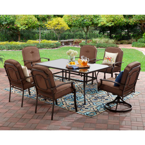 Mainstays Wentworth Outdoor Patio Dining Set, Cushioned Metal 7 .