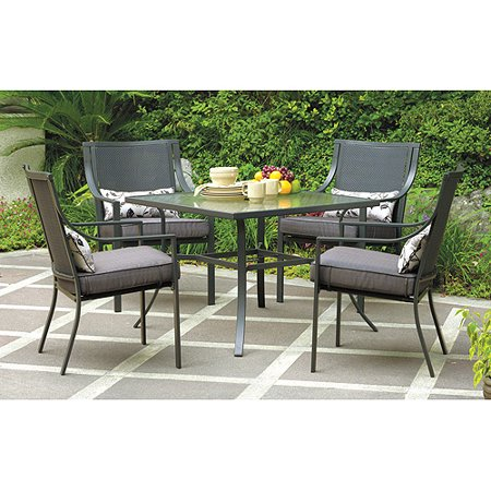 Mainstays Alexandra Square 5-Piece Outdoor Patio Dining Set, Grey .