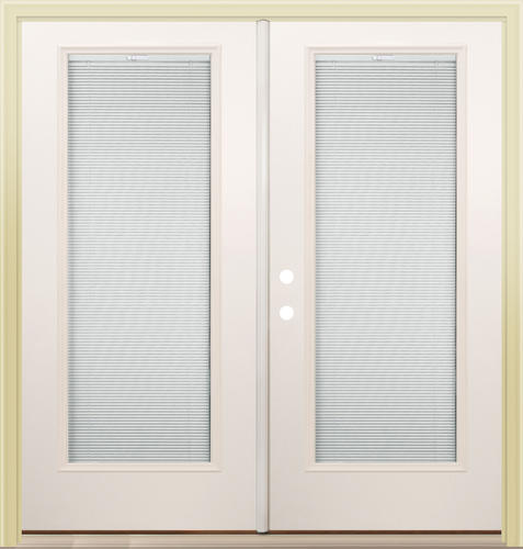 "Mastercraft® Primed Steel 72"" x 80"" French Patio Door with Mini ."