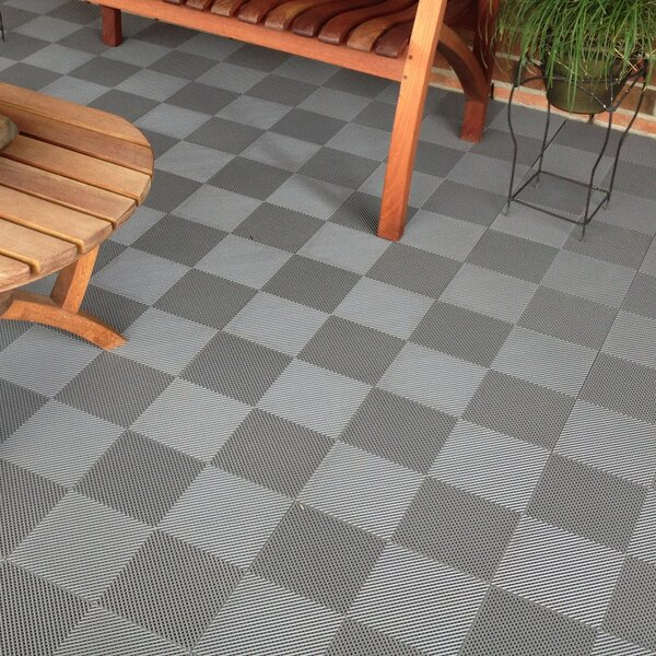 """BlockTile 12"""" x 12"""" Deck and Patio Flooring Tile in Gray & Reviews ."""