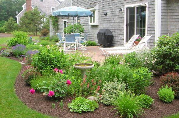 how to landscape around concrete patio - Google Search | Backyard .