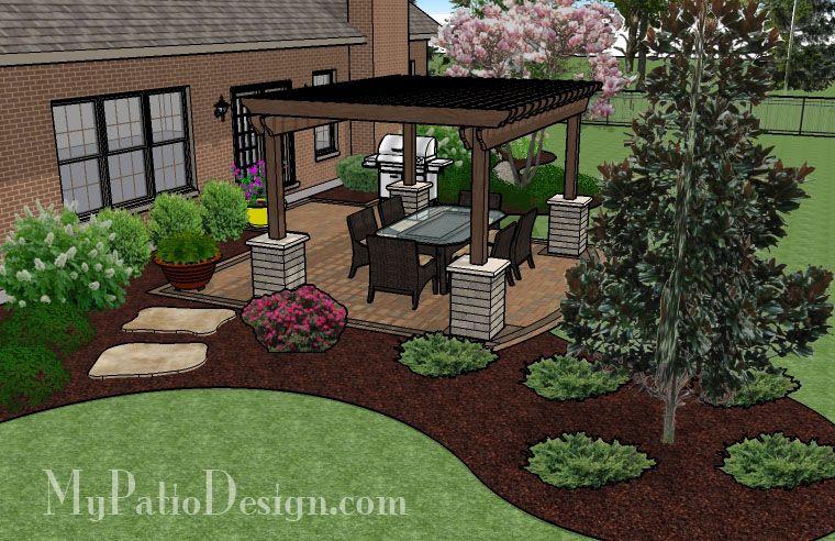 385 sq. ft. - Simple Paver Patio Design with Pergola | Backyard .
