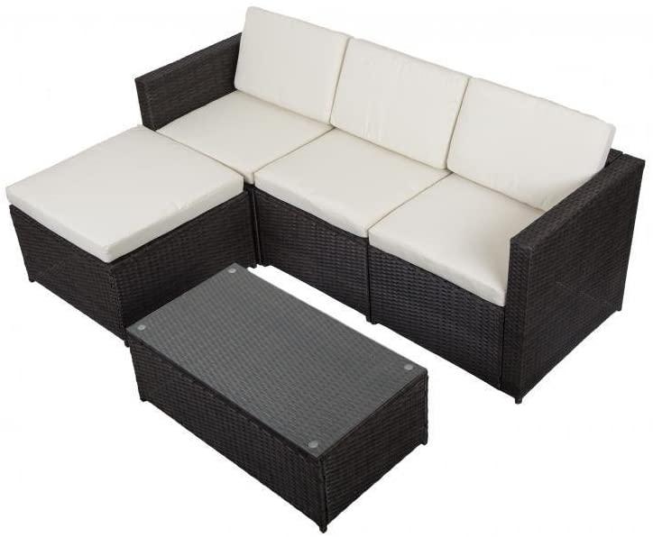 Amazon.com: Outdoor Patio Sofa Set Sectional Furniture PE Wicker .