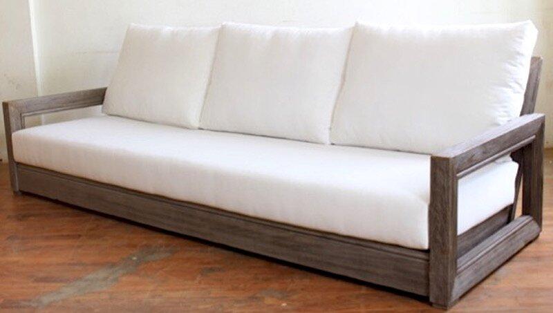 Brayden Studio Constance Teak Patio Sofa with Cushions | Wayfa