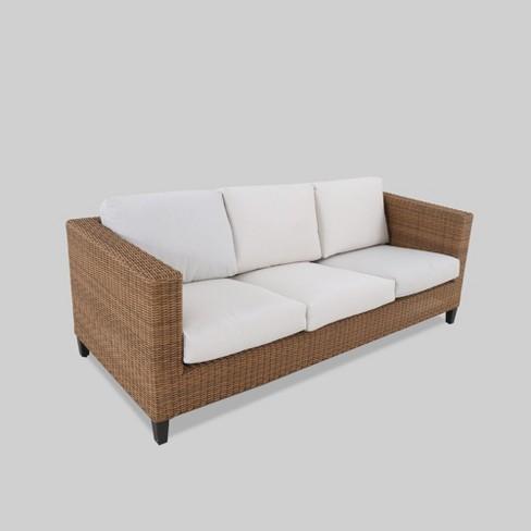 Fullerton Steel Wicker Patio Sofa Linen - Project 62™ : Targ