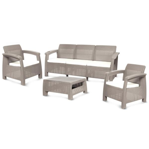 MQ Ferrara Rich Taupe 4-Piece Plastic Outdoor Patio Sofa Set with .
