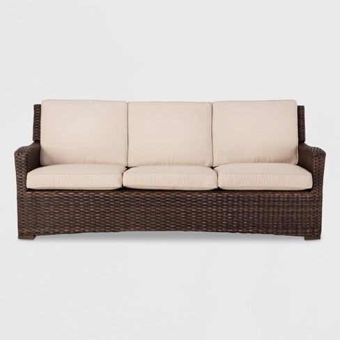 Halsted Wicker Patio Sofa With Cushions - Threshold™ : Targ