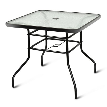 Costway 32'' Patio Square Table Tempered Glass Steel Frame Outdoor .