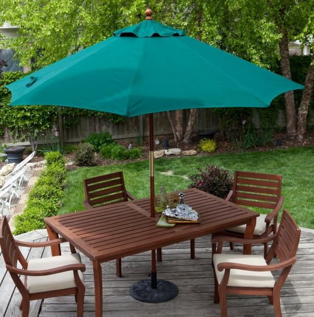 Outdoor Brown Conventional Varnished Wooden Dining Set With Green .