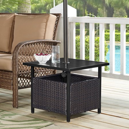 Ulax Furniture Patio PE Wicker Umbrella Side Table Stand, Outdoor .