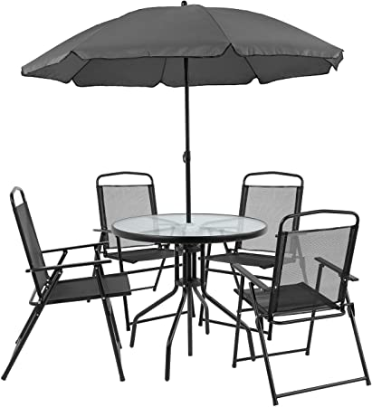 Amazon.com: Flash Furniture Nantucket 6 Piece Black Patio Garden .
