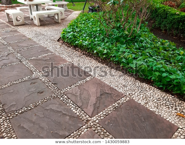 Garden Path Paving Slabs Garden Floor Stock Photo (Edit Now .