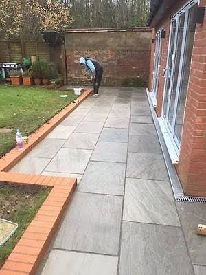 patio slabs - Google Search | Large backyard landscaping, Backyard .
