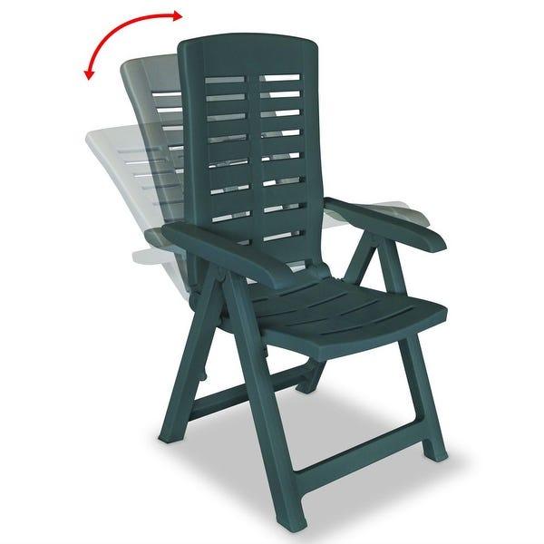 Shop vidaXL Reclining Garden Chairs 2 pcs Plastic Green .