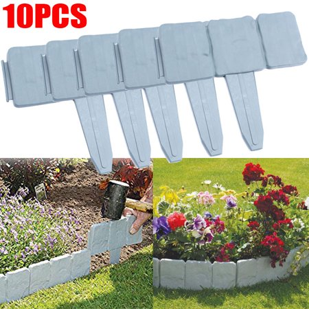 Plastic Garden Edging Border, Estink 10 pcs Grey Cobbled Stone .