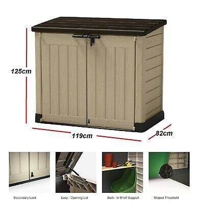 Wheelie Bin Storage Box Outdoor Plastic Garden Storage Shed .