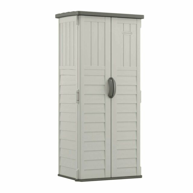 Outdoor Storage Shed Tall Plastic Garden Tool Cabinet Vertical .