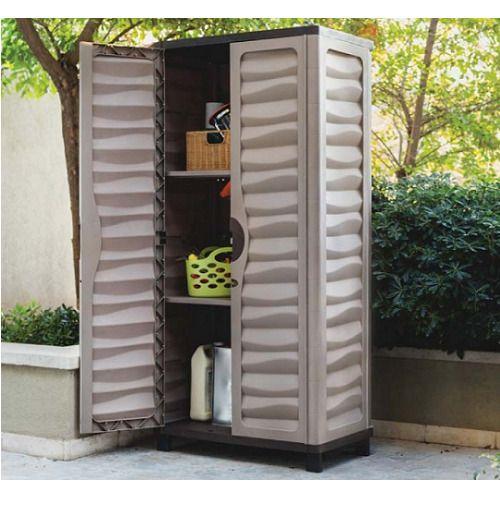 Tall Outdoor Storage Cabinet Garden Utility Plastic Horizontal .