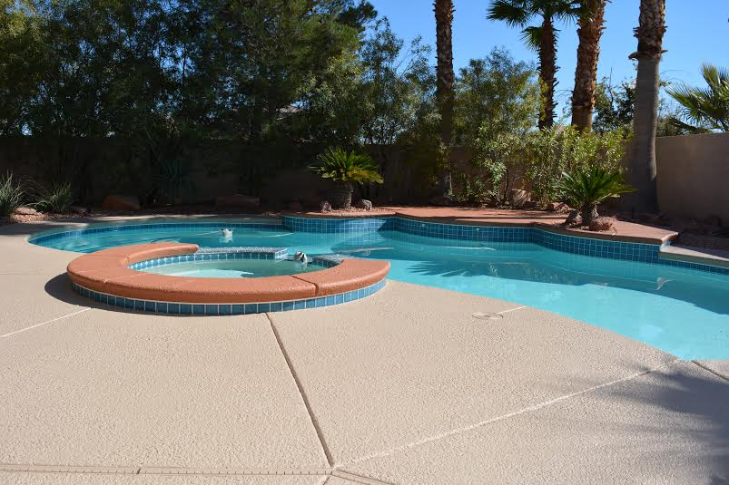 Stained Concrete and Pool Deck with Border - Concrete Texturi